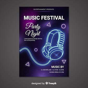 Modèle d'affiche de musique style néon