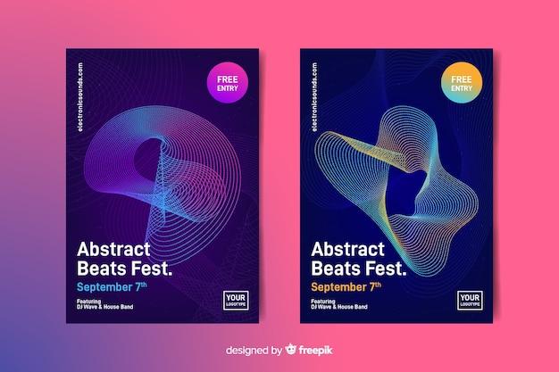 Modèle d'affiche musique vagues abstraites