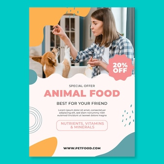 Modèle d'affiche de nourriture animale