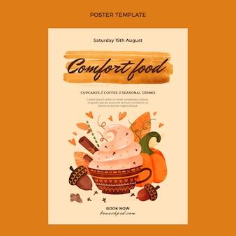 Modèle d'affiche de nourriture aquarelle