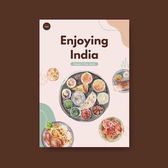 Modèle d'affiche avec de la nourriture indienne
