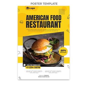 Modèle d'affiche de nourriture plate