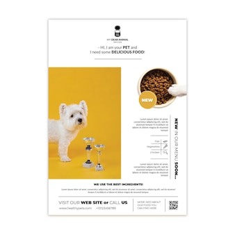 Modèle D'affiche De Nourriture Pour Animaux Vecteur gratuit