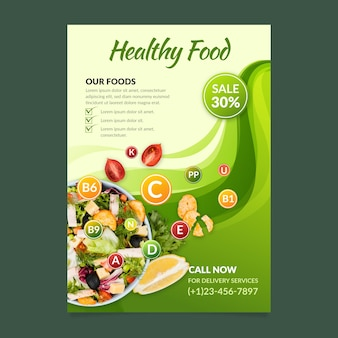 Modèle d'affiche de nourriture saine