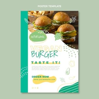 Modèle d'affiche de nourriture végétalienne design plat