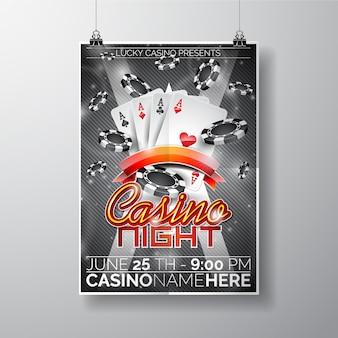 Modèle d'affiche de nuit de casino