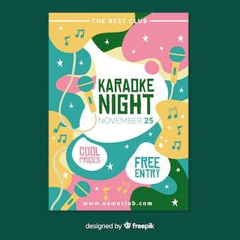Modèle d'affiche nuit karaoké dessiné à la main