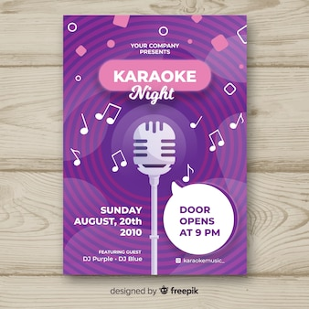 Modèle d'affiche de nuit karaoké à plat