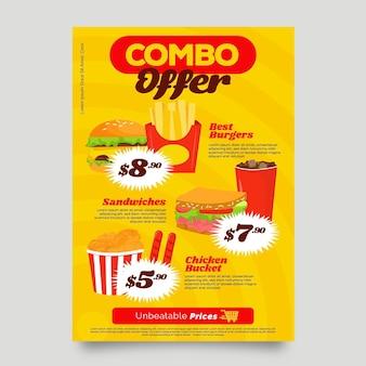 Modèle d'affiche d'offre de repas combinés