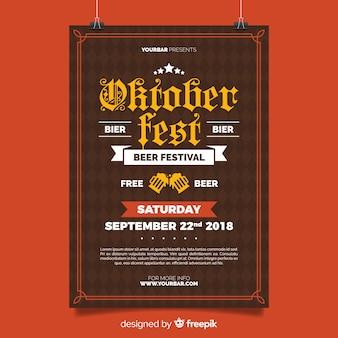 Modèle d'affiche oktoberfest avec un design plat