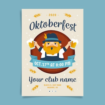 Modèle d'affiche oktoberfest dessiné à la main