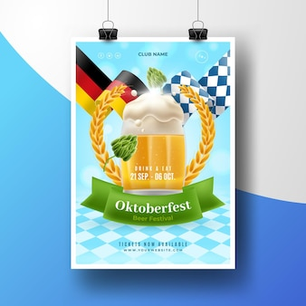 Modèle d'affiche oktoberfest réaliste avec pinte