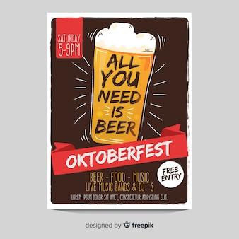 Modèle d'affiche oktoberfest verre de bière