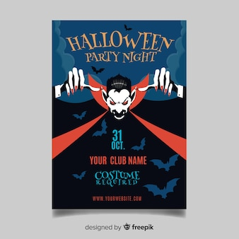 Modèle d'affiche originale de fête halloween avec un design plat