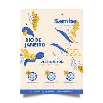 Modèle d'affiche de papeterie voyage au brésil