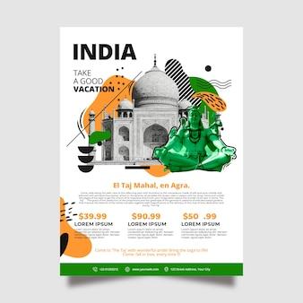Modèle d'affiche de papeterie en voyage en inde