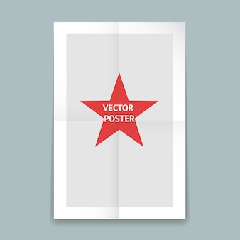 Modèle d'affiche en papier plié avec des lignes de pli et une étoile rouge au centre