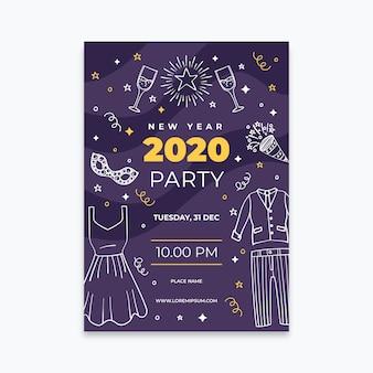 Modèle d'affiche de parti dessiné main nouvel an 2020