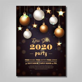 Modèle d'affiche de parti réaliste nouvel an 2020