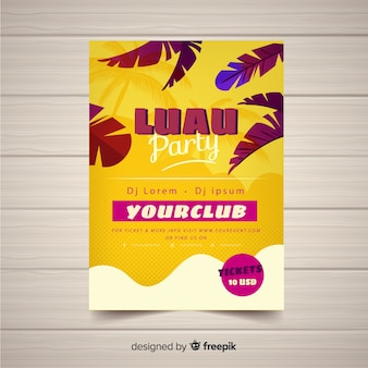 Modèle d'affiche de partie de feuilles de paume luau