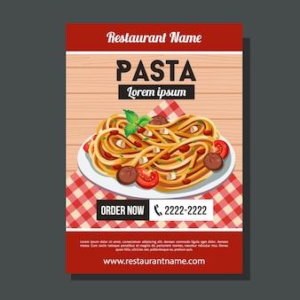 Modèle d'affiche de pâtes spaghetti