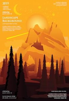 Modèle d'affiche paysage conception graphique
