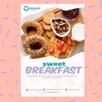 Modèle d'affiche de petit déjeuner au restaurant sucré