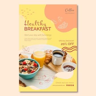 Modèle d'affiche de petit-déjeuner sain