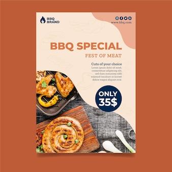 Modèle d'affiche avec photo de barbecue