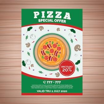Modèle d'affiche avec pizza