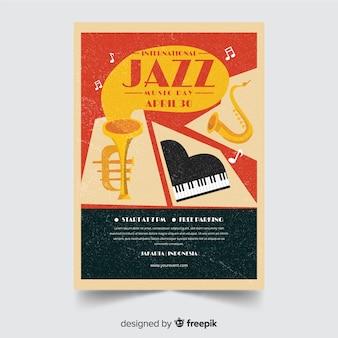Modèle d'affiche plat international jazz day
