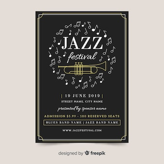 Modèle d'affiche plat international jazz day