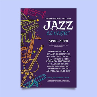 Modèle d'affiche plat de la journée internationale du jazz