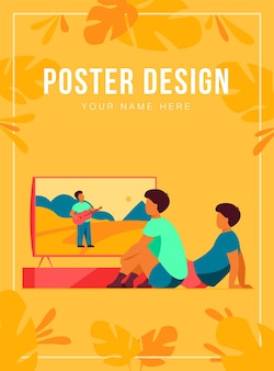 Modèle d'affiche pour enfants regardant un film ou un spectacle à la maison