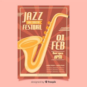 Modèle d'affiche pour le festival de jazz rétro