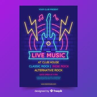 Modèle d'affiche pour le festival de musique au néon