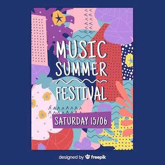 Modèle d'affiche pour le festival musique dessiné main abstraite