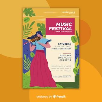 Modèle d'affiche pour le festival de musique dessiné main coloré