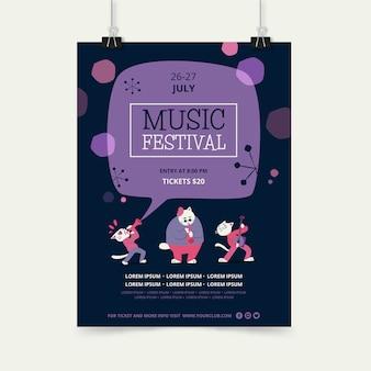 Modèle d'affiche pour le festival de musique avec groupe de personnages d'animaux