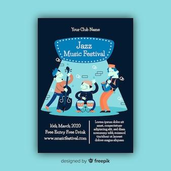 Modèle d'affiche pour le festival de musique jazz