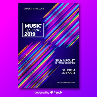 Modèle d'affiche pour le festival de musique avec des lignes colorées