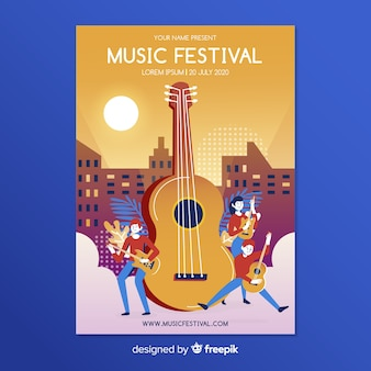 Modèle d'affiche pour le festival de musique plat
