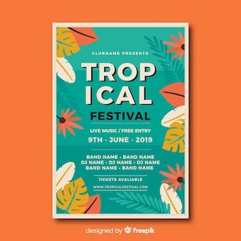 Modèle d'affiche pour le festival de musique tropicale vintage