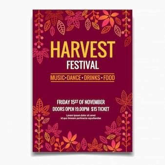 Modèle d'affiche pour le festival des récoltes
