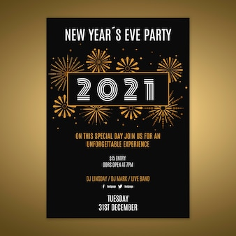 Modèle d'affiche pour la fête du nouvel an