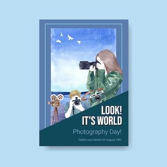 Modèle d'affiche pour la journée mondiale de la photographie
