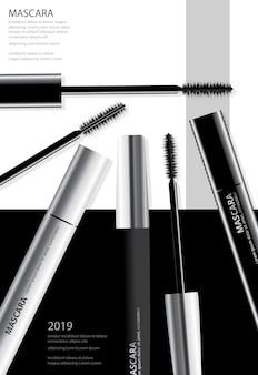 Modèle d'affiche pour le mascara cosmétique de la mode