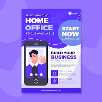 Modèle d'affiche pour les outils de bureau à domicile disponibles
