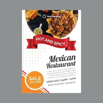 Modèle d'affiche pour restaurant mexicain