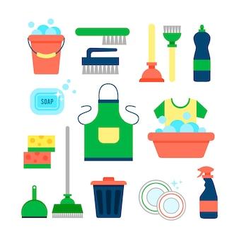 Modèle d'affiche pour les services de ménage avec divers articles de nettoyage
